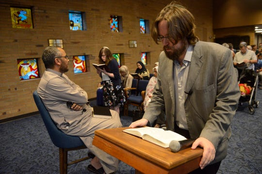Rabbi Joshua Kullock recites a prayer at West End Synagogue on Wednesday, May 29, 2019, in Nashville, Tenn. The synagogue hosted Muslims for an iftar, the breaking of their Ramadan fast.