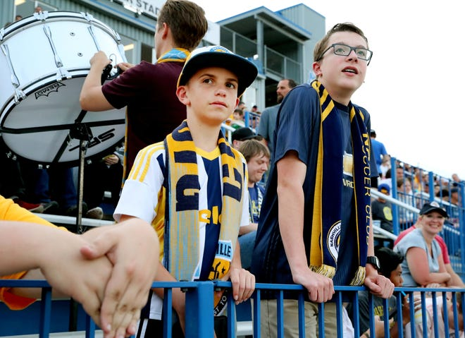 Nashville SC Mathew Ward, 15, left, and Jacob Linebarger, 15 both of Murfreesboro both get ready for the stat of the U.S. Open Cup between Nashville SC and  Charleston Battery on Wednesday, May 29, 2019, at the Dean A. Hayes Track and Soccer Stadium at MTSU.