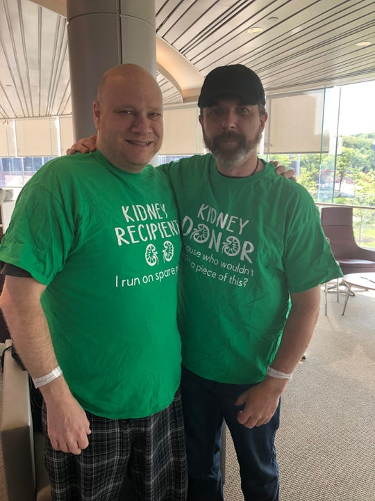 Jason Hoefler (left) and Jeff Keenan prior to Hoefler's life saving kidney transplant surgery.