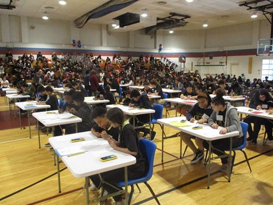 Students participate in the finals of Paterson school district's math Olympiad          .