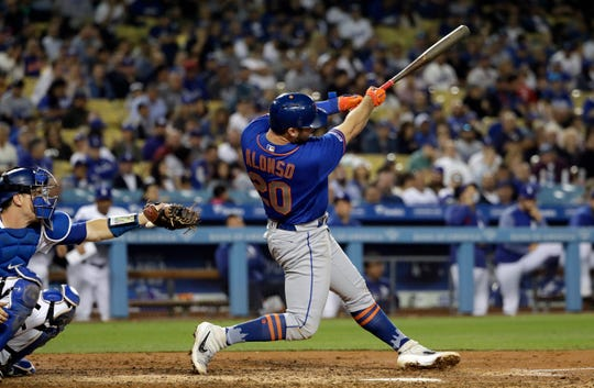 New York Mets' Pete Alonso hits a two-run home run against the Los Angeles Dodgers during the fifth inning of a baseball game Wednesday, May 29, 2019, in Los Angeles.
