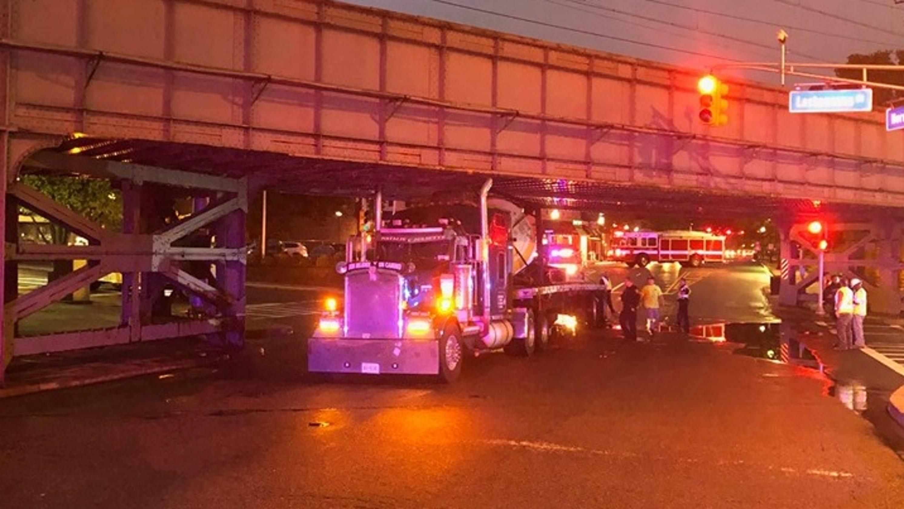 Tractor Trailer Gets Stuck Under Bridge In Morristown NJ
