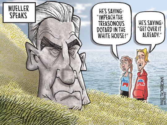 Editorial cartoon by Mike Thompson.