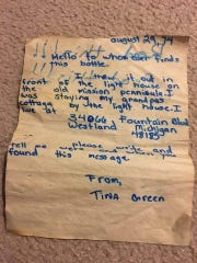 The letter Tina Green put in a bottle and tossed in the Grand Traverse Bay in 1974.