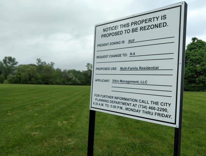 The property proposed to be rezoned for luxury apartments on Seven Mile between Victor Parkway and Newburgh.