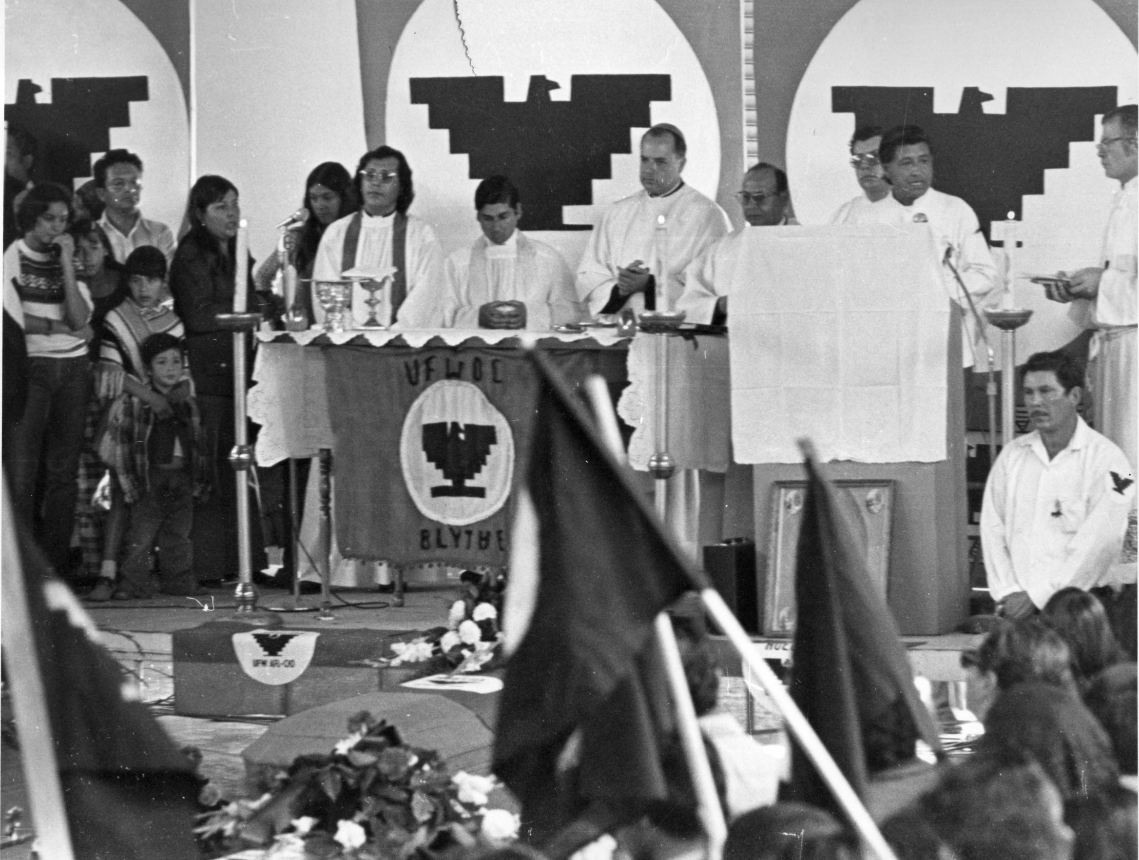 Cesar Chavez, leader of the United Farm Workers, speaks at a mass in Calexico following the deaths of 19 farm laborers.