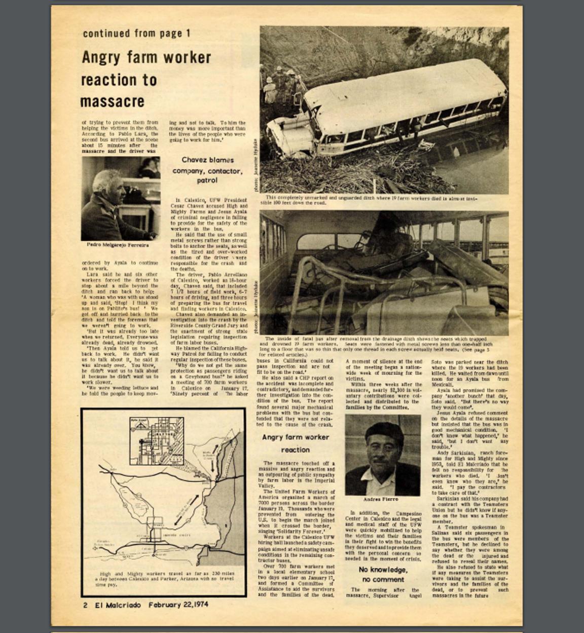 Screenshot from the February 1974 edition of El Malcriado.