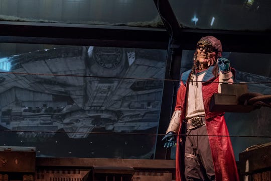 The notorious Weequay pirate Hondo Ohnaka gives guests their mission prior to boarding Millennium Falcon: Smugglers Run at Star Wars: Galaxy's Edge at Disneyland Park in Anaheim, California.