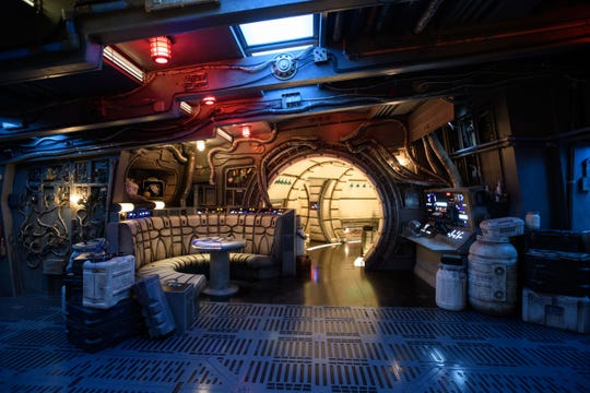 The famous main hold lounge is one of several areas Disney guests will discover inside Millennium Falcon: Smugglers Run before taking the controls in one of three unique and critical roles aboard the fastest ship in the galaxy at Star Wars: Galaxy's Edge at Disneyland Park in Anaheim, California.