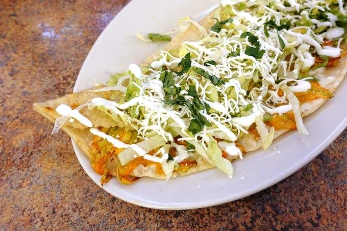 Super quesadilla de flor de calabaza at El Rincon Poblano in Phoenix.