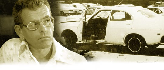 Arizona Republic reporter Don Bolles, left.  Right, his car after a remote-controlled bomb exploded beneath it on June 2, 1976. Bolles died 11 days later.