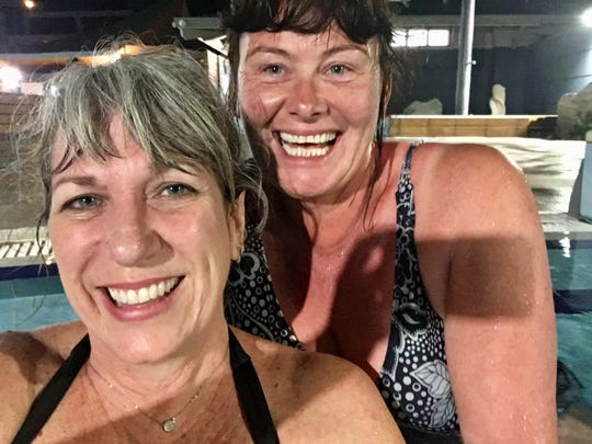 Karina Bland in her new swimsuit with cousin Lauren Clarke at the Mount Hot Pools in Mount Maunganui, New Zealand.