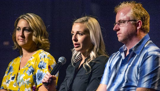 "A panel discussion about the PBS Frontline documentary film ""Sex Trafficking in America"" takes place Wednesday, May 29, 2019, at Bethany Bible Church in Phoenix. From left to right are: Phoenix Police officers Christi Decoufle and Melissa Borquez, and director Jezza Neumann."