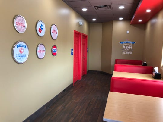 A peek inside the a portion of the dining area inside the new Myerstown location of Dominos Pizza, which opened Friday, May 24.