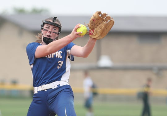 Mahopac pitcher Shannon Becker in action against John Jay (EF)  during the Section 1 semifinal at John Jay High School in East Fishkill May 30, 2019. John Jay won the game 4-3.