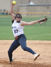 John Jay (EF) pitcher Megan Schumacher (27) in action against Mahopac during the Section 1 semifinal at John Jay High School in East Fishkill May 30, 2019. John Jay won the game 4-3.