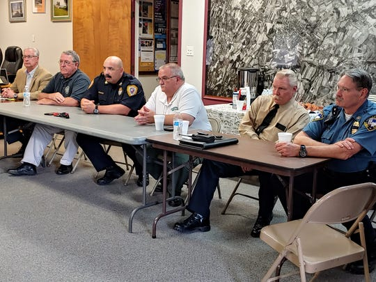 Some of the police and municipal officials from Franklin County at U.S. Rep. John Joyce's roundtable discussion were, from left: Greencastle Mayor Ben Thomas, Chambersburg Mayor Walt Bietsch, Chambersburg Police Chief Ron Camacho, Greencastle Police Chief John Phillipy, Waynesboro Police Chief Jim Sourbier and Washington Township Police Chief Barry Keller.