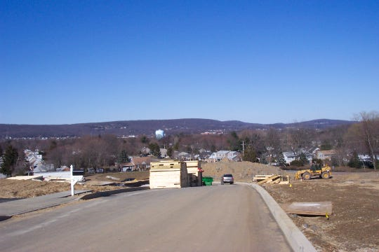 Hellam Hills as viewed from near Longstown looking north. Rocky ridge County Park above the bluish-green water tank.