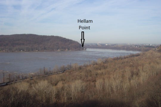 The Hellam Hills from Breezyview verlook north of Columbia showing Hellam Point. View looking northwest.