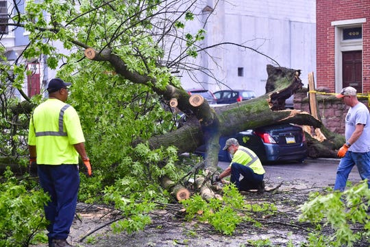 One crew member cuts the tree apart, while the others clear the debris, Wednesday, May 29, 2019.