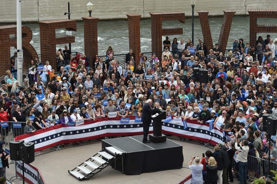 Senator Bernie Sanders speaks during a campaign rally in City Plaza in downtown Reno on May 29, 2019.
