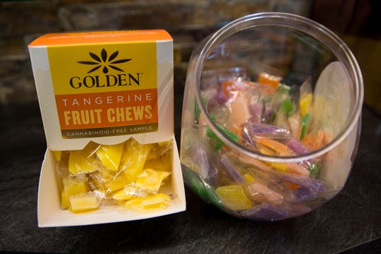 Various gummy edibles are shown at Green Cross Cannabis Emporium in Keizer on May 30, 2019.