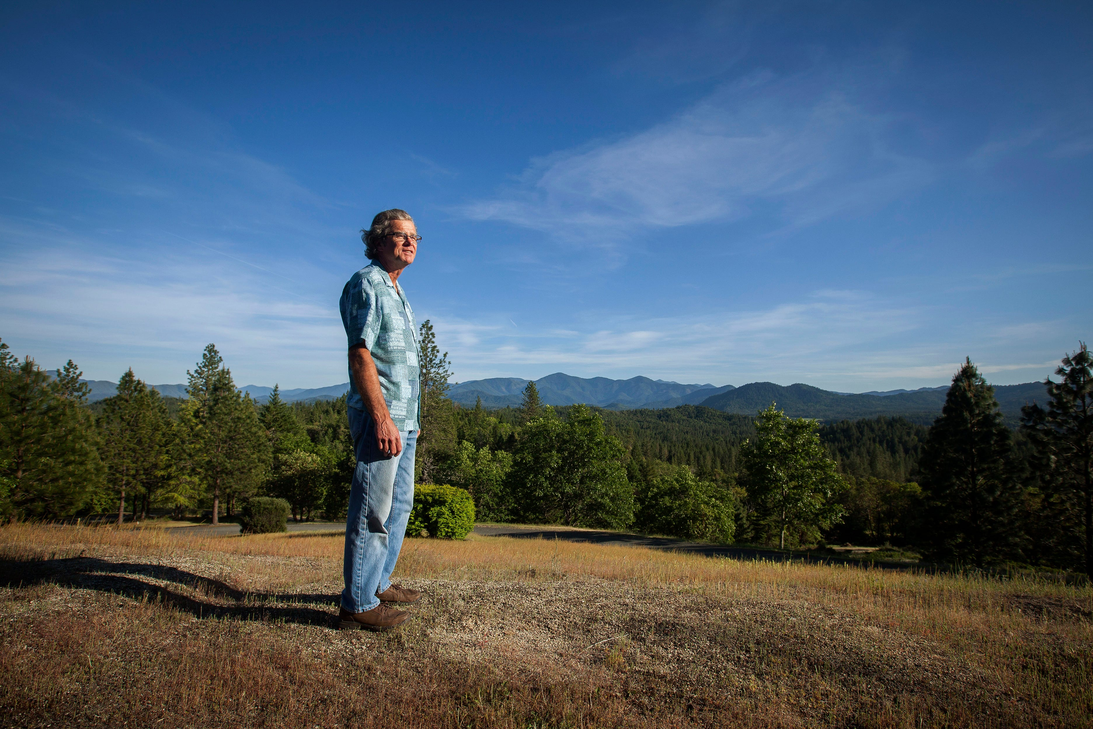 The view from Steve Burchell's home in Grants Pass, near Merlin in the Rogue Valley.   Since purchasing the home a little over a year ago, he has been working to prepare for the upcoming wildfire season. Burchell plans to install a roof irrigation system that will keep his roof wet during a wildfire.