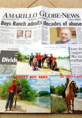 In this photo provided by Steve Smith on May 10, 2019, a display of items Smith kept related to Cal Farley's Boys Ranch are shown. Smith and his brother, Rick, went to the ranch in 1957. They are among men who say they were abused at the ranch. The display shows the front page of the Amarillo Globe-News that was published after The Guardian wrote about the allegations. Also shown are postcards Smith has kept. The postcard on top shows, Gregg Votaw, left front, Steve Smith, left rear, Rusty Votaw, middle, Rick Smith, right rear, and an unidentified person kneeling on right front. The postcard on bottom left shows Rick Smith. The postcard on bottom right shows Steve Smith.