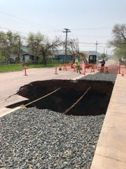 A sinkhole that opened up on the morning of May 30 on Whitewood Street in Rapid City.