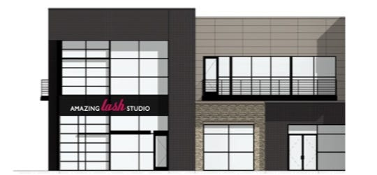 A rendering shows the future site of Amazing Lash Studio in the Prairie Hills Galleria at 69th Street and Western Ave.