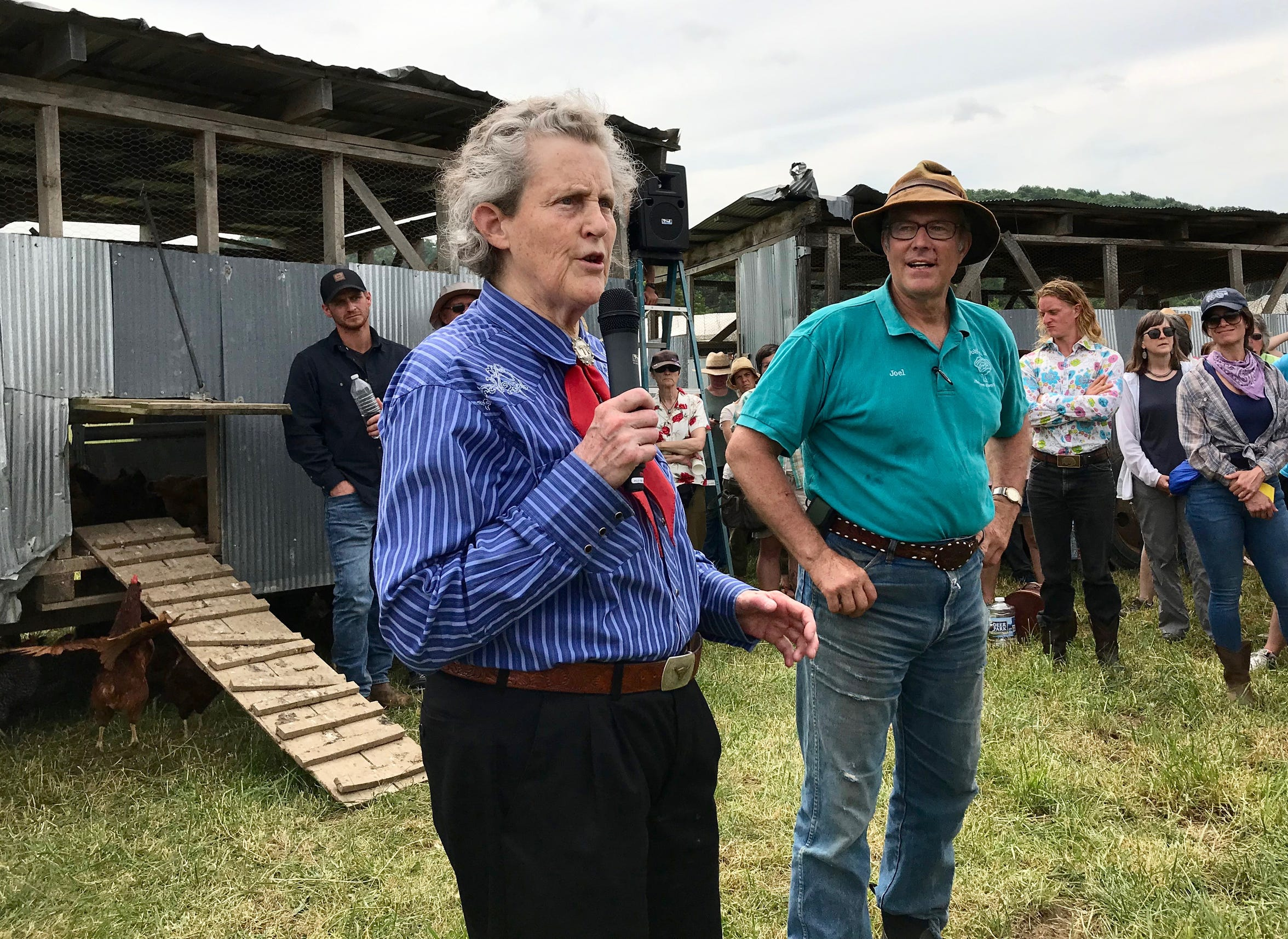 A day with Temple Grandin on Polyface Farms in Swoope, Virginia, on Wednesday, May 29, 2019. Temple Grandin and Joel Salatin talk to visitors in the front of the eggmobile stop on the farm tour.