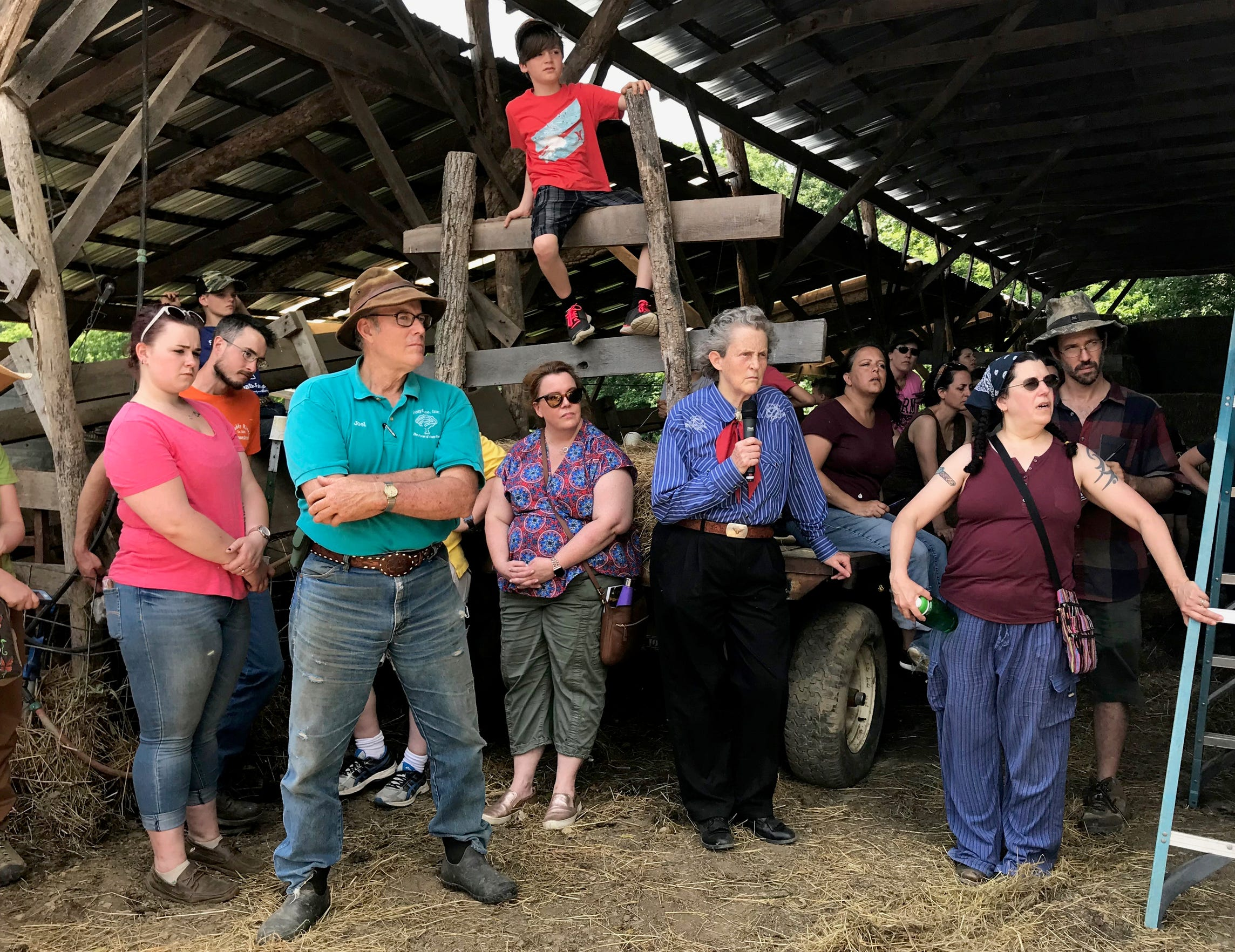 A day with Temple Grandin and owner of Polyface Farms Joel Salatin on Wednesday, May 29, 2019 in Swoope, Virginia. Photograph taken inside the compost barn on the farm.