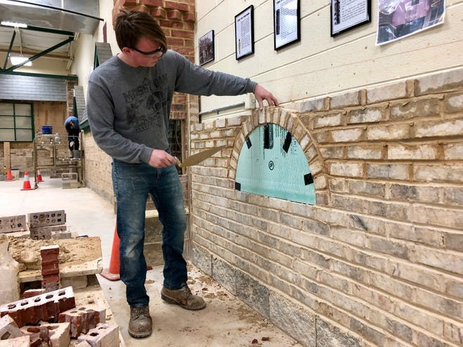 Student Wrangler Rose practices building an arch at the Valley Career and Technical Institute in spring 2019.