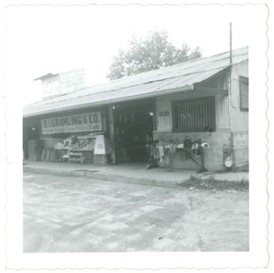 Archival photo of Gramling's feed store. Gramling's moved to its current location at 1010 S. Adams St. in 1927.