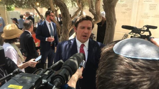 Gov. Ron DeSantis speaks at a press briefing on the last day of the Florida trade trip to Israel.