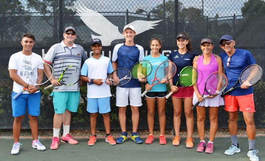 Dollars for Scholars Tennis Tournament participants included local tennis professionals and high school standouts, from left, Tyler Rios, Cyrus Krefting, Ibby Carrington, Nick Galligan, Malu Oliveira, Isabel Oliveira, Simone Vasconcellos and Raul Cedeño.