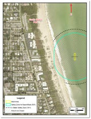 The work site is located south of the park. Beachgoers should avoid the safety zone, which extends onto the beach.
