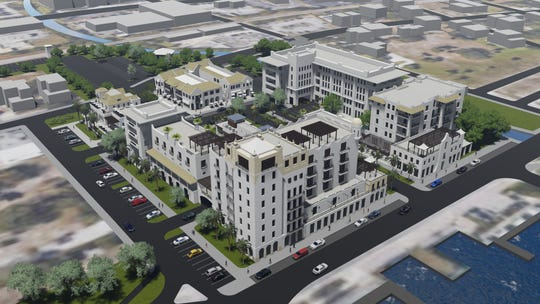 Audubon Development of West Palm submitted this $85 million proposal to redevelop the H.D. King site in downtown for a 120-room Marriott Hotel (background), 60 condos (foreground) space for two restaurants, 300 surface parking spaces. The project  would be named King;s Landing.