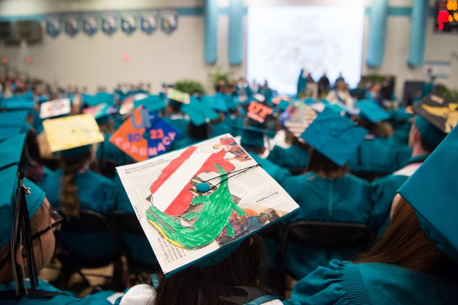 The Jensen Beach High School graduation commencement ceremony is held Wednesday, May 29, 2019, at Jensen Beach High School. The state ranked 4th in the nation in K-12 student achievement this year.