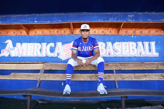 All City Baseball MVP Darell Hernaiz of Americas High School poses Wednesday, May 29, 2019, at Americas baseball field in El Paso.