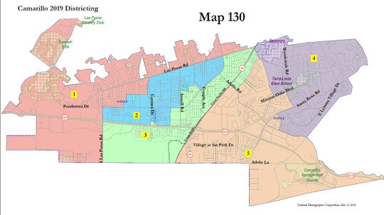 The Camarillo City Council selected Map 130 to be the city's official election district map for the 2020 election at a public hearing in May.