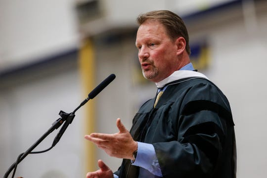 Wausau Schools Superintendent Keith Hilts addresses the Wausau West High School class of 2019 during graduation.