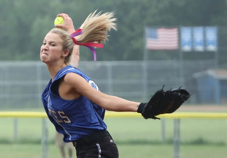 Camryn McGee of Pearl River pitches against Walter Panas in the Section 1 softball semifinal May 30, 2019 in Pearl River. Walter Panas won, 3-1.