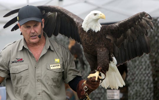 Jonathan Wood talks about his eagle at   Birds of Prey Day at Green Chimneys in Patterson in 2016. The annual event will be held on Sunday, June 2.