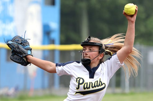 Olivia Bordenaro of Walter Panas pitches against Pearl River in the Section 1 softball semifinal May 30, 2019 in Pearl River. Walter Panas won, 3-1.