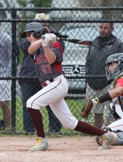 Nyack's Tyler Fidalgo swings during a game at Disbrow Park in Rye.