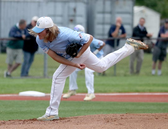 Max Hover of John Jay East Fishkill pitches to Suffern during the Section 1 Class A semifinal baseball game at Arlington High School Wednesday, May 29, 2019. The game was suspended in the third inning due to rain.
