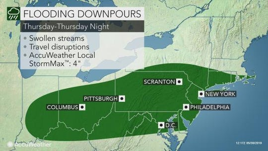 Heavy rain could cause flooding in the Lower Hudson Valley on Thursday, May 30, 2019.