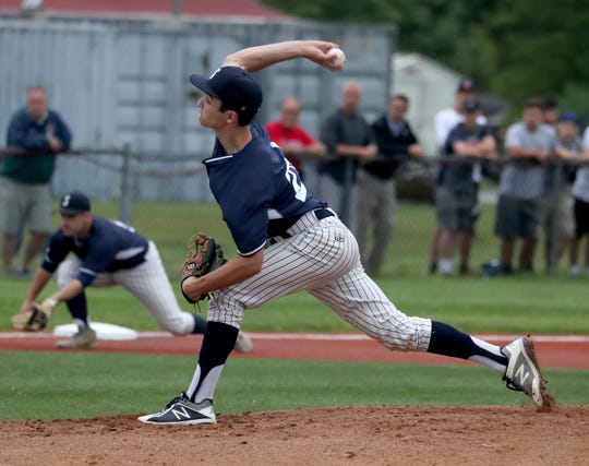Kasey Sullivan of Suffern pitches to John Jay East Fishkill during the Section 1 Class A semifinal baseball game at Arlington High School Wednesday, May 29, 2019. The game was suspended in the third inning due to rain.