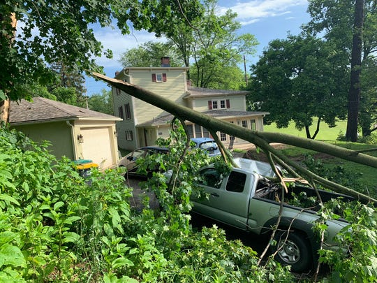 Lynn McCarthy, who lives in near Newport Gap Pike and Greenbank Road, couldn't leave her house Thursday because a tree had fallen on her husband's truck and blocked the driveway .